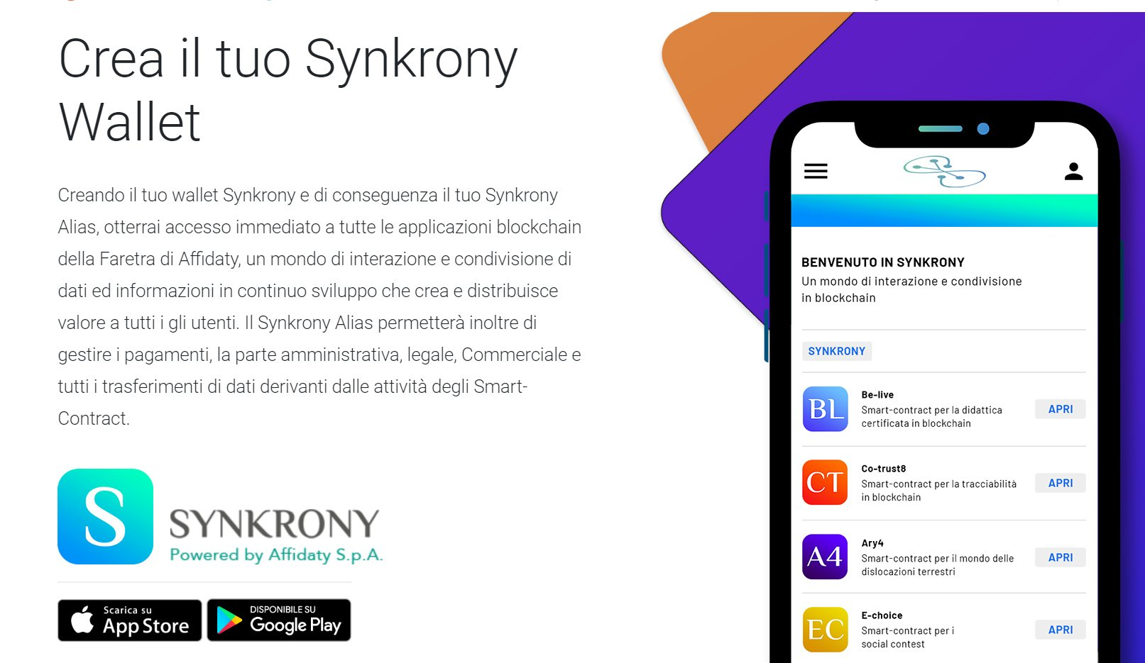 Syncrony, il wallet smart contracts di Affidaty
